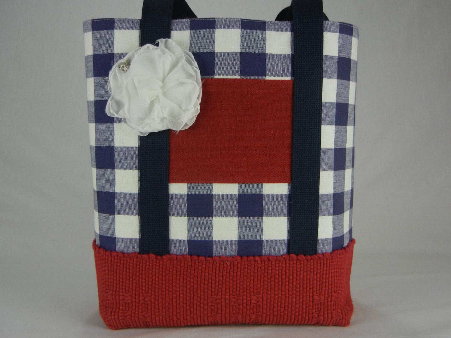 Red White and Blue Butterfly Tote Bag, Checked, Heavy duty, Tote Bag, Handmade flower, Placemats, red, white and blue by TotellyUnique on Etsy