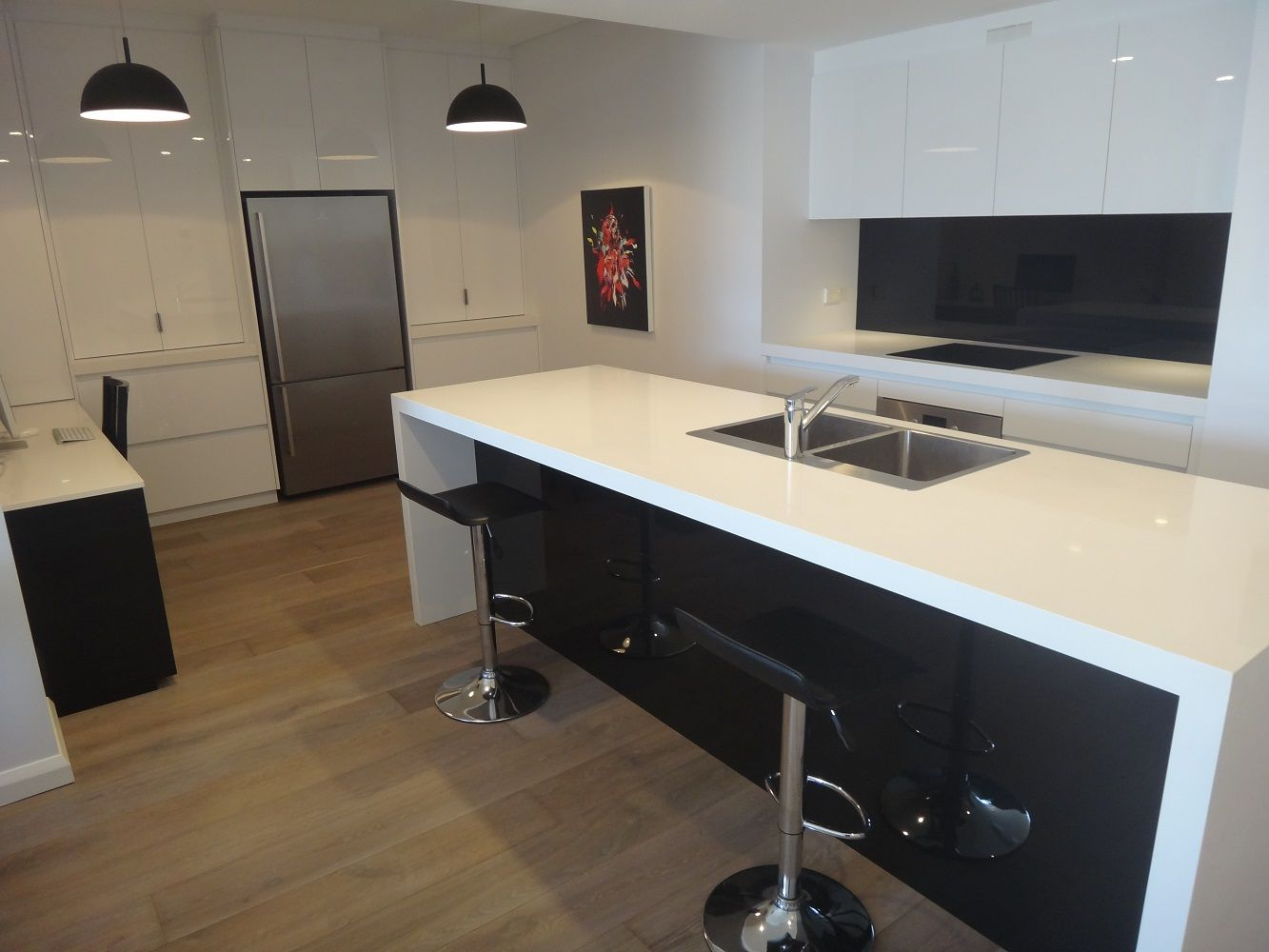 White Kitchen Black Benchtop white and black kitchens - google search | kitchens | pinterest
