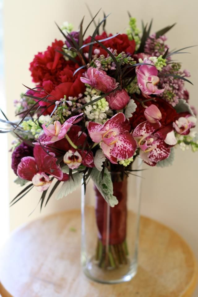 Bella Fiori Floral Event Design Denver Colorado Fuchsia Orchids Peonies Lilac And Agonis Corporate Flowers Flower Vases Home Floral Arrangements