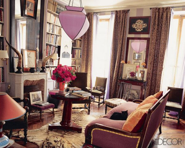 Love the lavender striped walls and how it's subdued by drapes and other elements in the room. Interesting mix. Paris apartment.