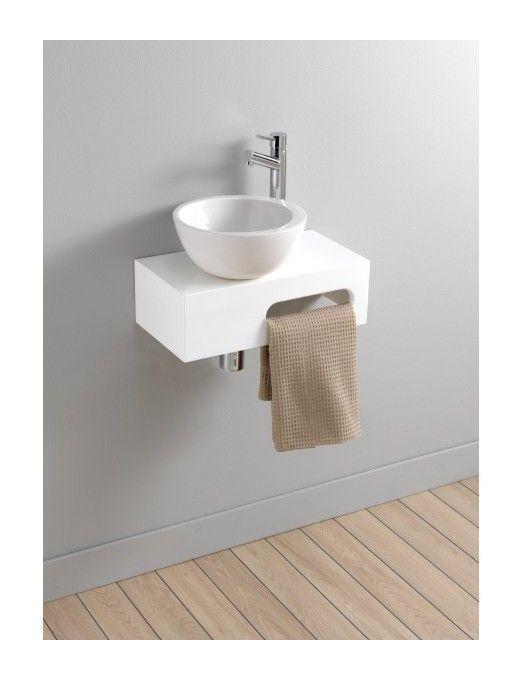 Lave-mains complet en céramique blanc sur console pour petit espace