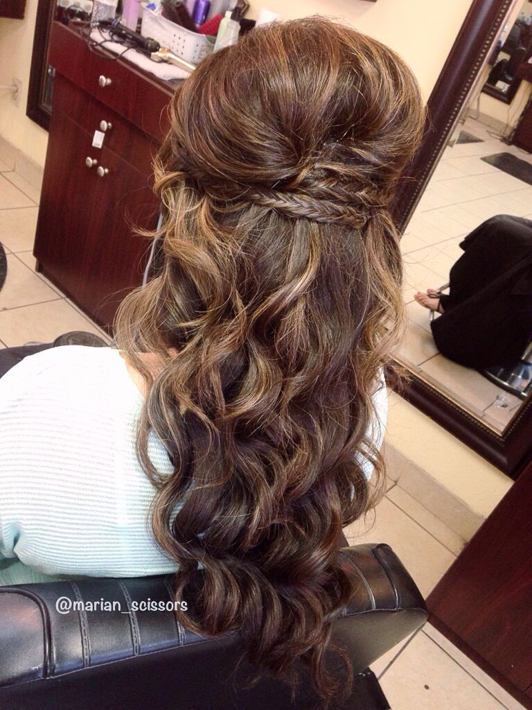 Fishtail•criss-cross hairstyle•updo•downdo on long/thick hair & beach waves! By:Marian Toma ...