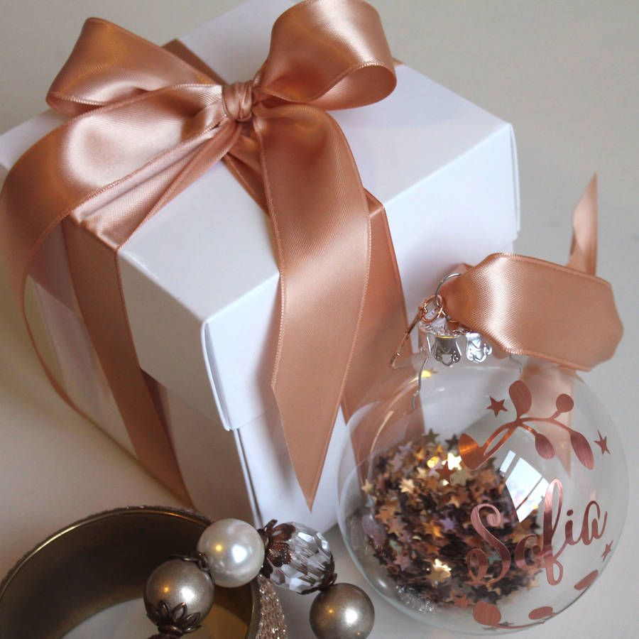 Rose Gold Copper: Copper And Rose Gold Personalised Silhouette Bauble