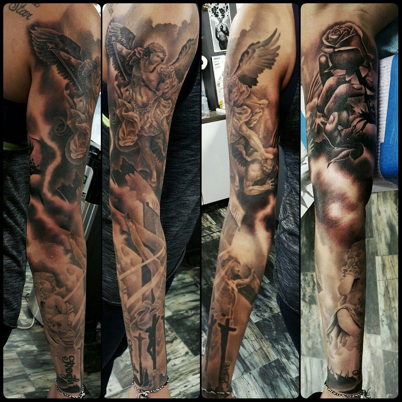 St Michael Jesus Sleeve Joe Tattoo St Michael Tattoo Sleeve