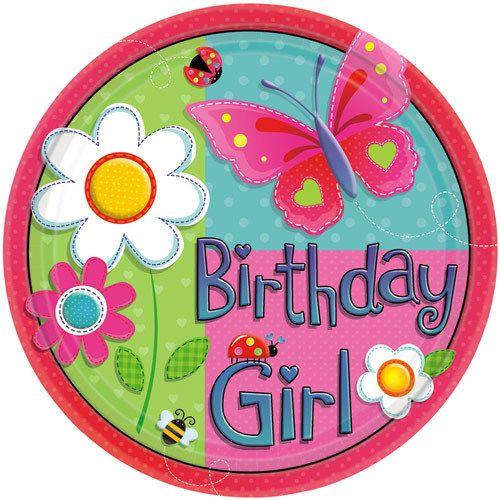 Madchen Geburtstag Pappteller Klein 8 Stuck Pink Bunt 17 7cm