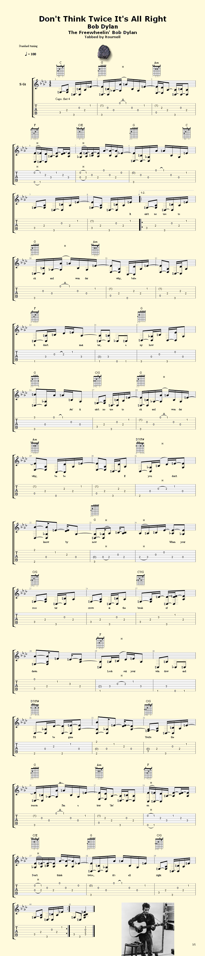 Dont Think Twice Do Brolap Steel Sheet Music Songs Pinterest