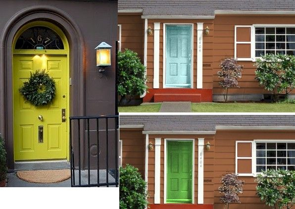 Blue House With Brown Door Brown Or Tan House Green Or Yellow