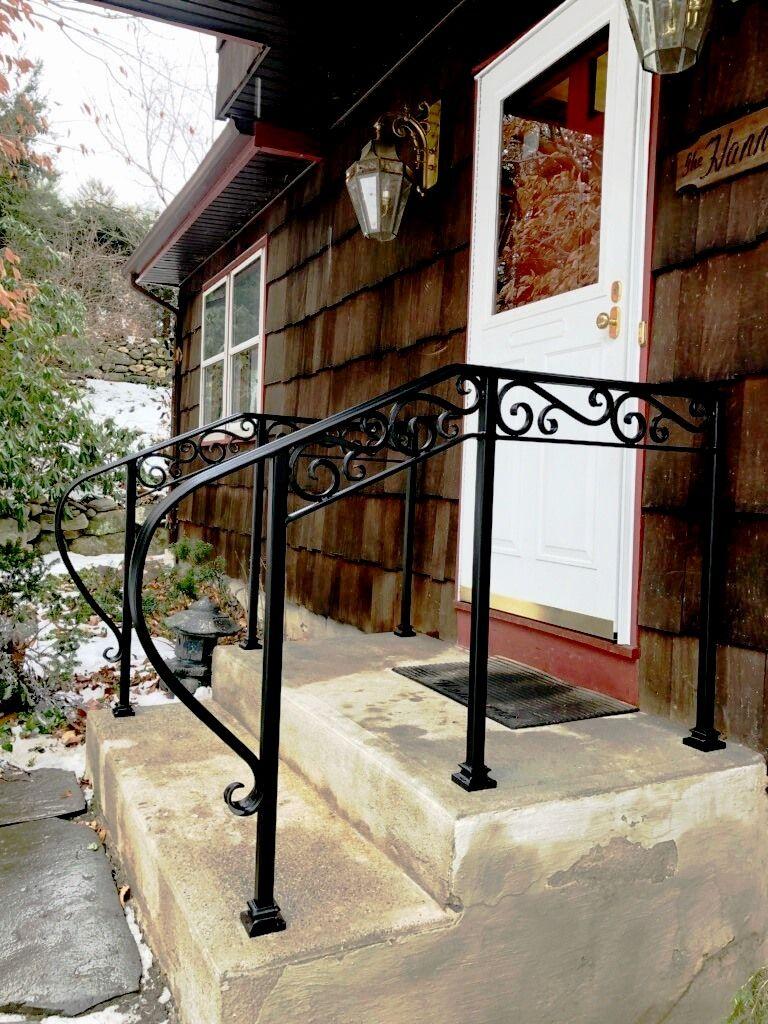 Basic 2-Rail Wrought Iron Handrail with Decorative Scrolls ...