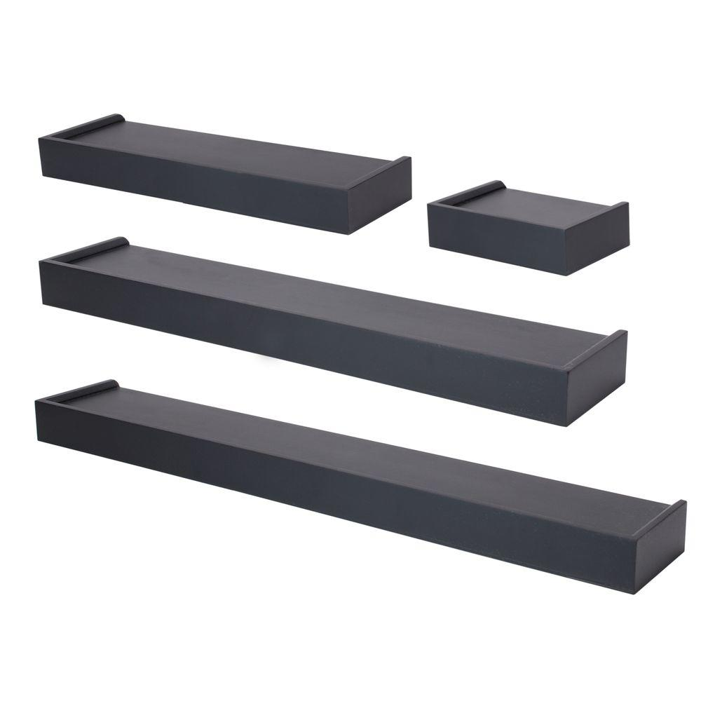 Az Home And Gifts Nexxt Vertigo 24 In L Mdf Wall Ledge Set In Black 4 Piece Fn07780 7int Floating Wall Shelves Wall Shelves Wall Ledge