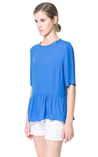 TOP WITH FRILL AND LOW NECKLINE AT THE BACK - Tops - Woman | ZARA United States