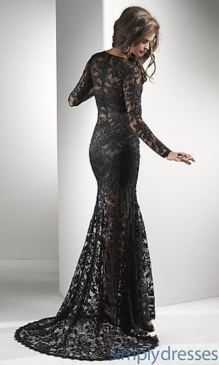 green and black lace prom dress | ... Sheath Lace Long Sheer Sleeve ...