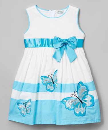 Look what I found on #zulily! Turquoise Butterfly A-Line Dress - Toddler & Girls #zulilyfinds