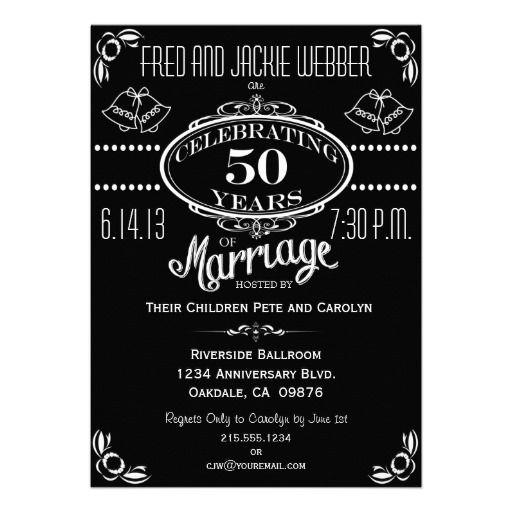 Chalkboard 50th Anniversary Party Invitation Chalkboard 50th