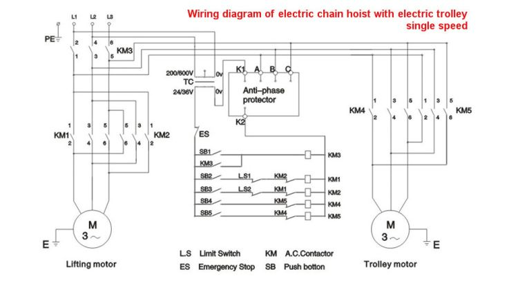 Wiring Diagram of Electric Chain Hoist with Anti Phase Protector and  Trolley Motor : Wiring Diagram | Electrical circuit diagram, Diagram, Circuit  diagramPinterest