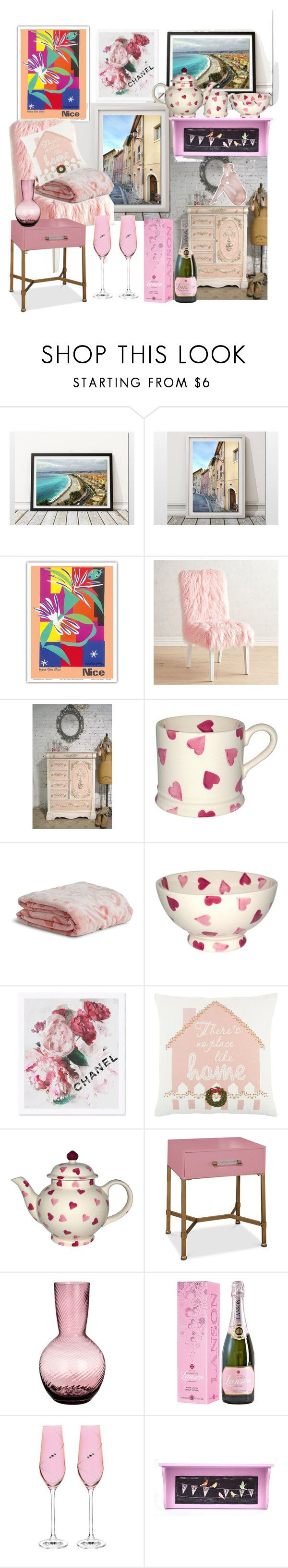 """""""La Maison en Rose"""" by alexxa-b ❤ liked on Polyvore featuring interior, interiors, interior design, home, home decor, interior decorating, Pier 1 Imports, Vera Bradley, Oliver Gal Artist Co. and Rizzy Home"""