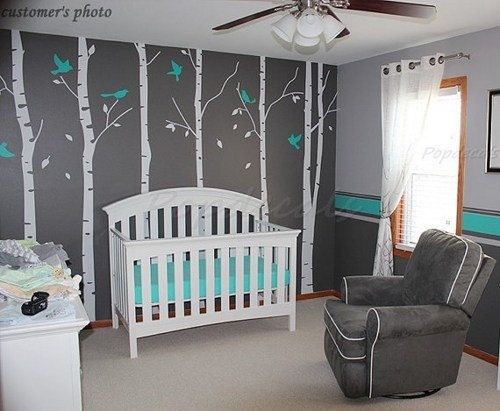 wall decal stcker decals decor bedroom room vinyl romoveralble-Six Big Birch Tree with Flying Birds trees buds home on Etsy, $78.00