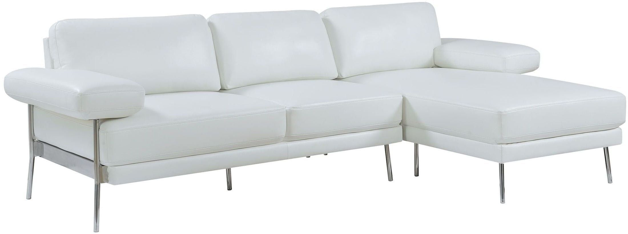Esofastore Classic Contemporary Sectional Sofa Set Chrome Legs Breathable Leatherette White Sofa Chaise Furniture Contemporary Sectional Sofa Plaid Living Room