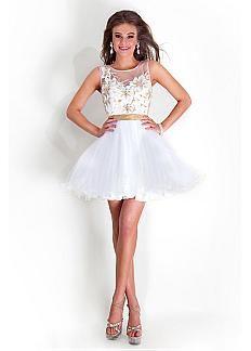 Stunning Tulle & Satin Jewel Neckline Short A-line Cocktail Dress