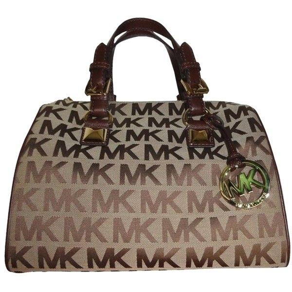 Pre-owned Michael Kors Signature Beige Mocha Medium Grayson Handbag... ($287) ❤ liked on Polyvore featuring bags, handbags, brown, beige handbags, monogrammed handbags, color block handbags, michael kors and hand bags