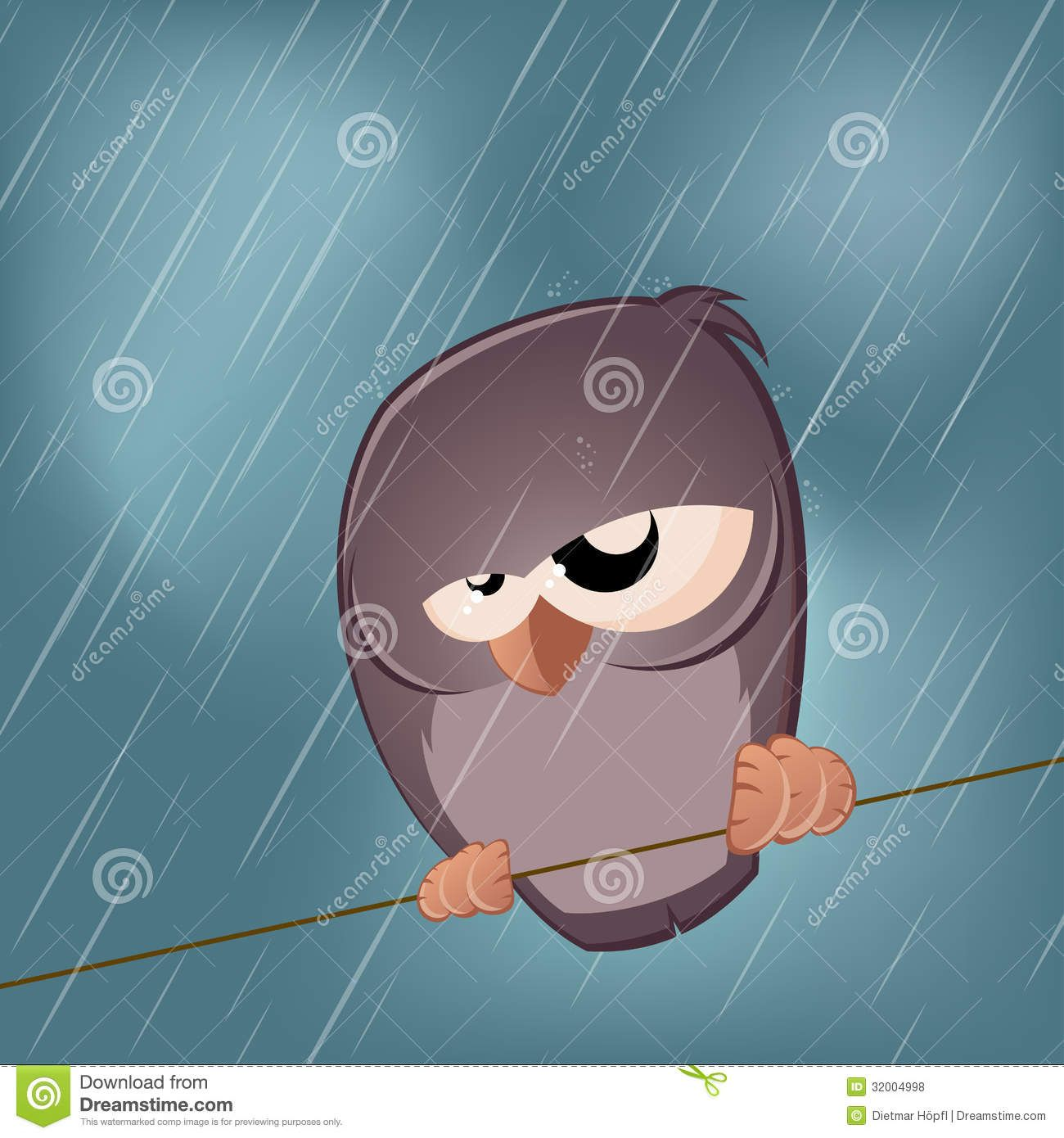 Cold Rainy Day Funny Quotes: Funny Illustration Of A Sad Bird On A