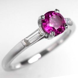 Transparent+Ruby+Engagement+Ring+w/+Baguette+Diamonds+Platinum