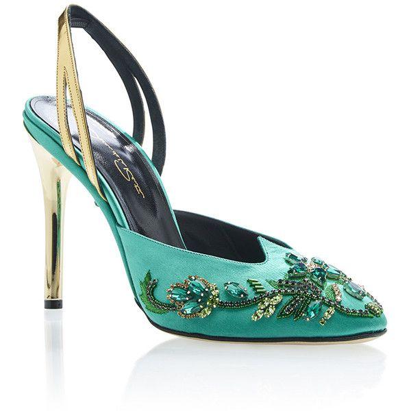 Oscar de la Renta Bottle Green and Gold Rosa Pump (1,575 CAD) ❤ liked on Polyvore featuring shoes, pumps, decorating shoes, green pumps, green shoes, gold pumps и gold shoes