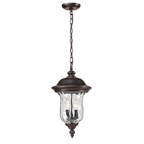 Armstrong Two-Light Rubbed Bronze Outdoor Chain Pendant Light