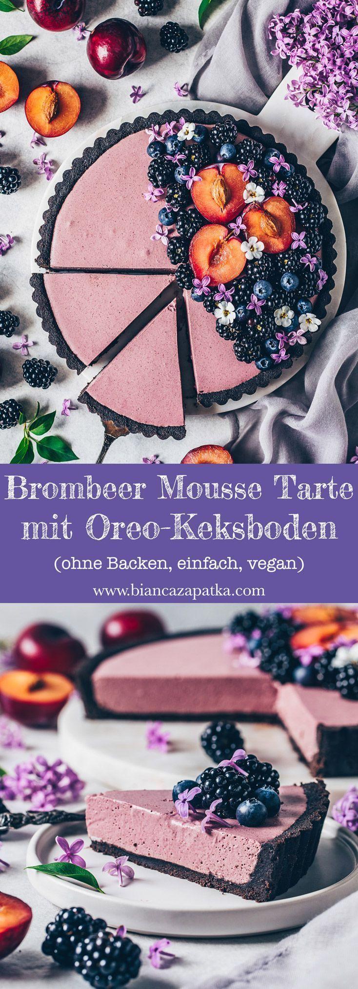 Brombeer Mousse Tarte - ohne Backen, vegan - Bianca Zapatka | Rezepte
