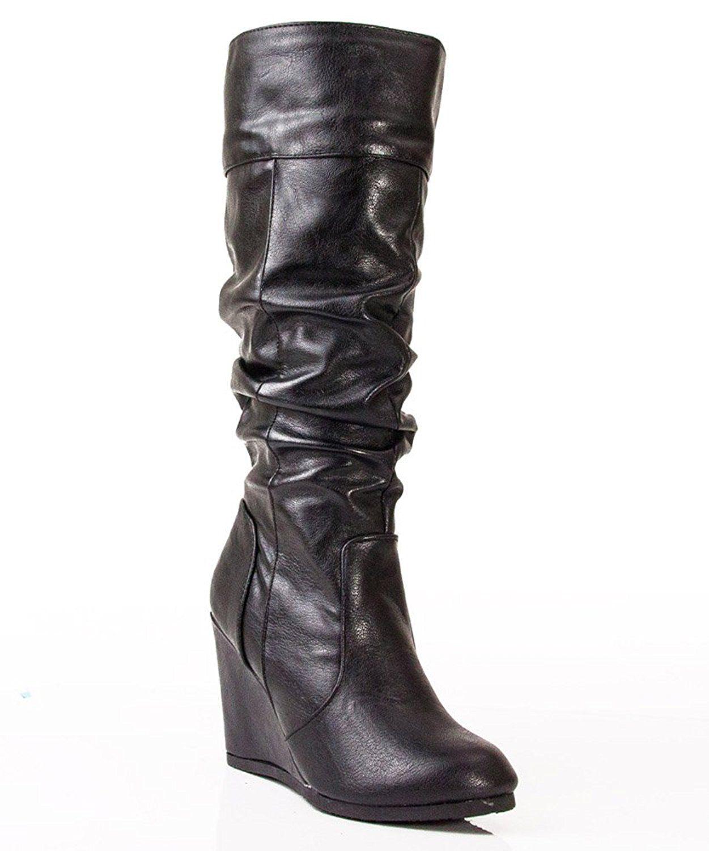 Escort Mid Calf Vegan Slouchy Wedge Boots
