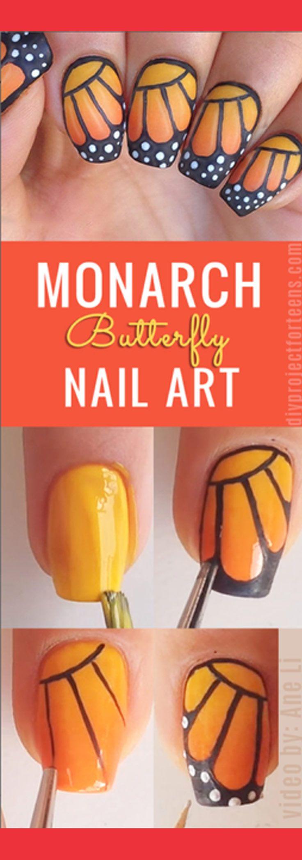 DIY Monarch Butterfly Nail Art | Nageldesign, Nagelschere und ...