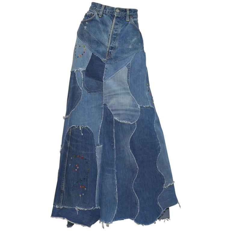 Levis Denim Big E Patchworkcustom Maxi Skirt 1stdibs Com With Images Denim Denim Design Patchwork Denim Skirt