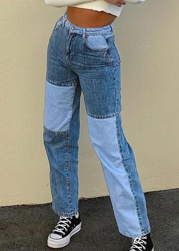 Pants Women's Color Block long Jeans - Blue / 2XL