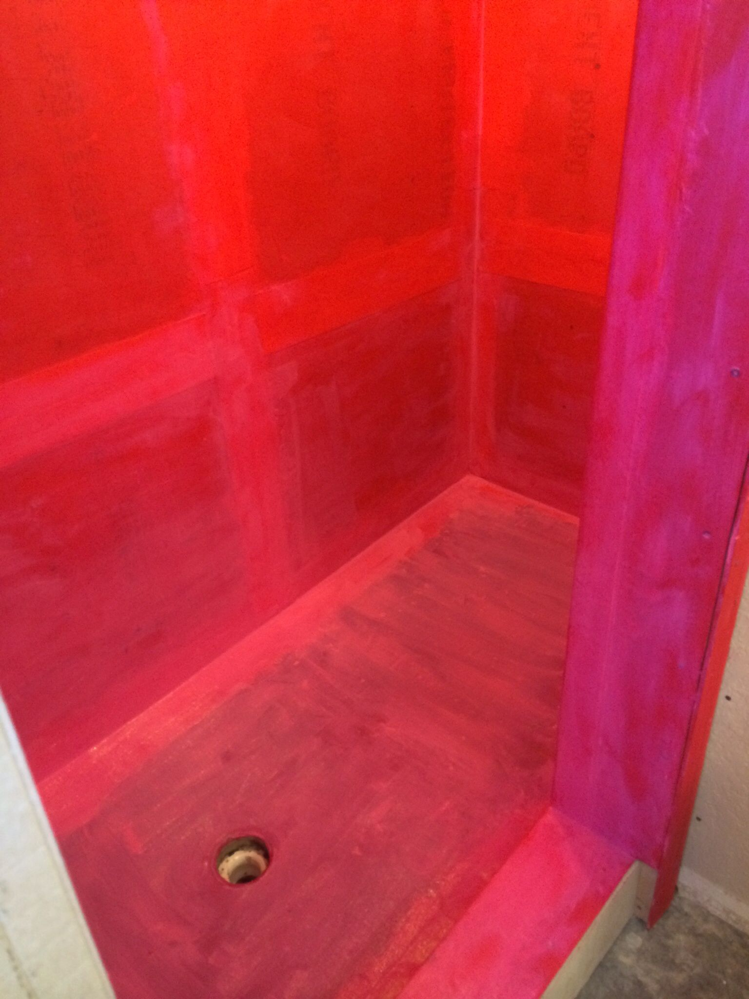 Expanded Shower Sealed With Red Guard Ready For Tile Red Tiles