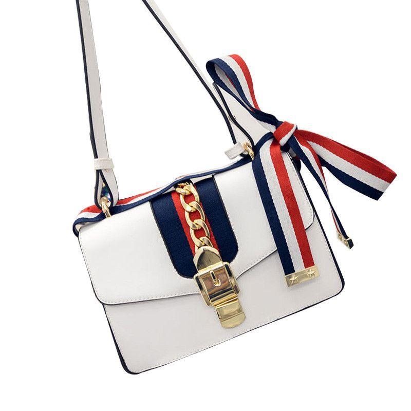 Brand designer Fashion Woman Messenger Bag Ladies Quality PU Leather Handbag stripe ribbon lock shoulder women bag