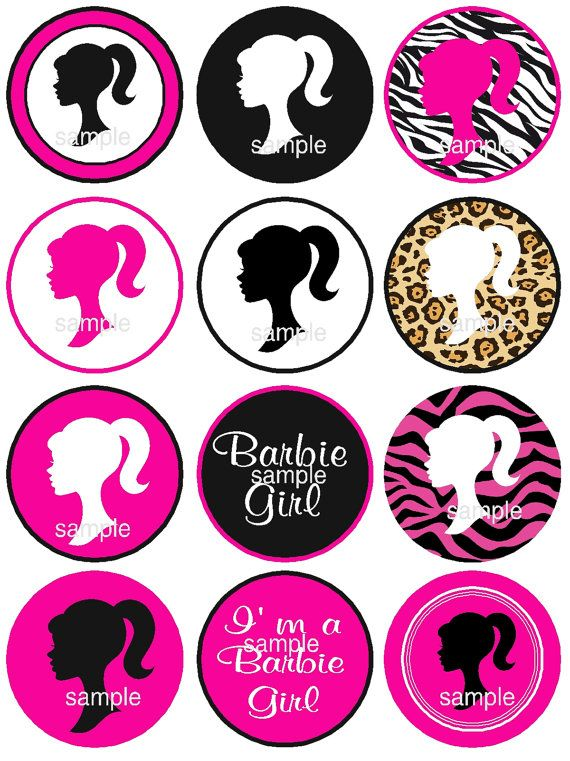 Barbie Silhouette Cupcake Toppers Instant Download By Jcsaccents 400 Birthday Party