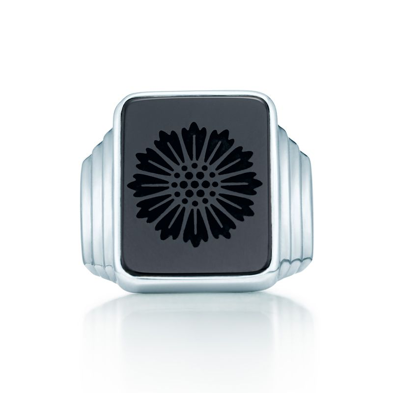 06c74bb10 Tiffany & Co. Ziegfeld Collection daisy signet ring in sterling silver with  carved black onyx. #TiffanyPinterest