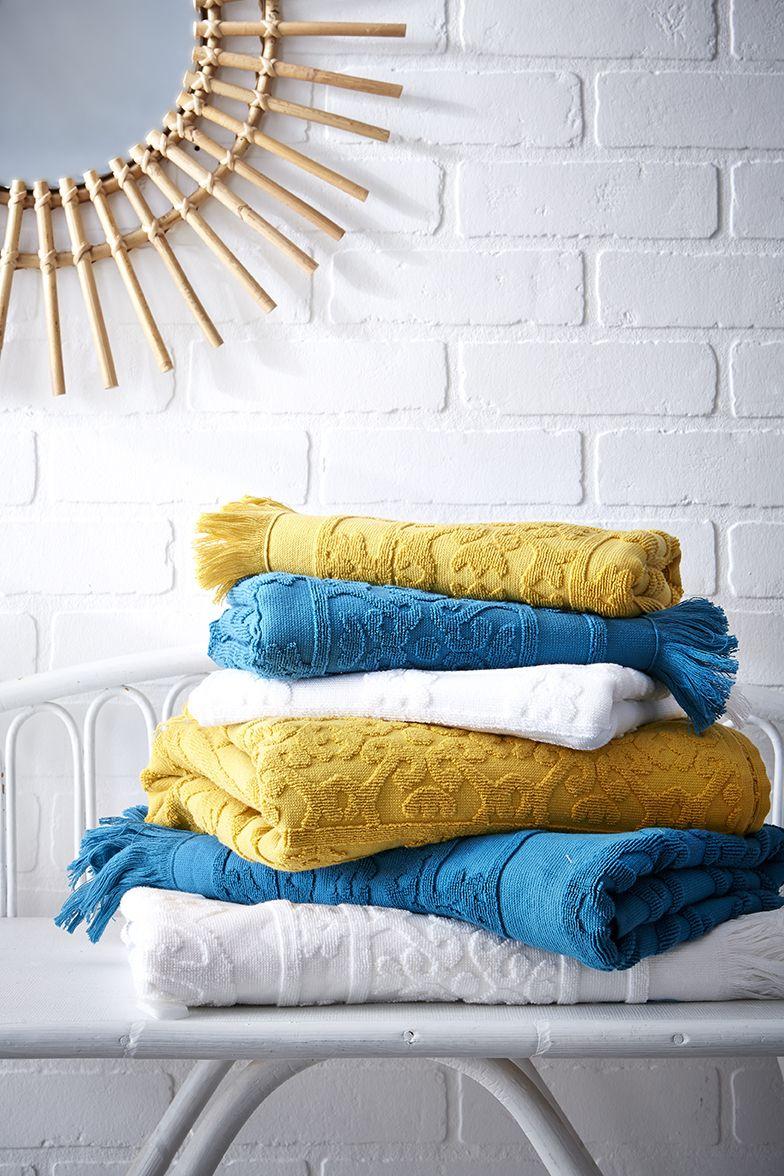 Eponge 600 g//m² 100 /% coton Lot de 2 Serviettes de Bain Blanche 50x100