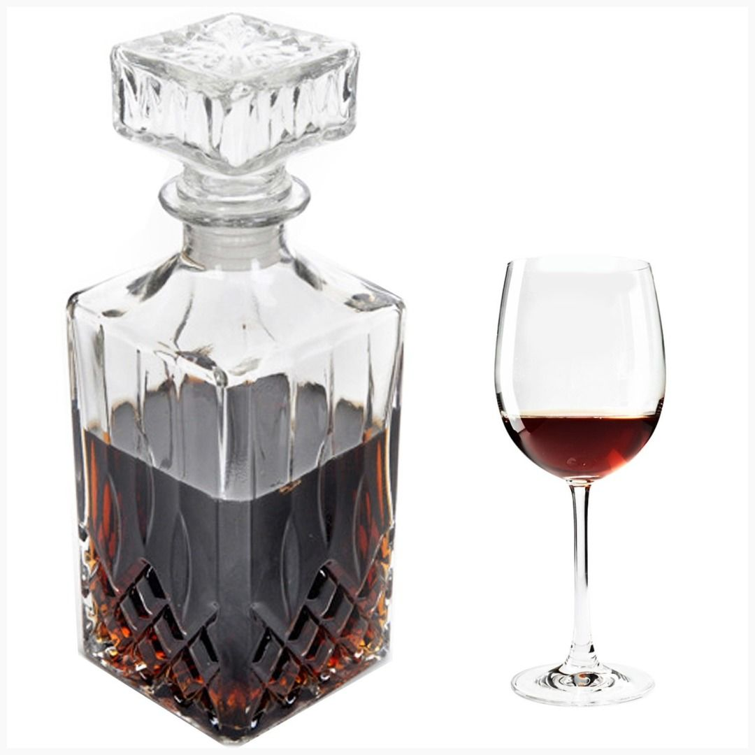 Set of 2 Clear Glass Water Juice Wine Serving Bottle Carafe 1000ml