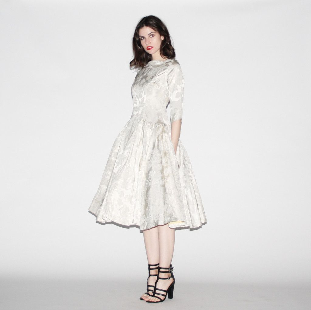 Vintage wedding tea dress  s Vintage Metallic OffWhite Jacquard Flocked Tea Length