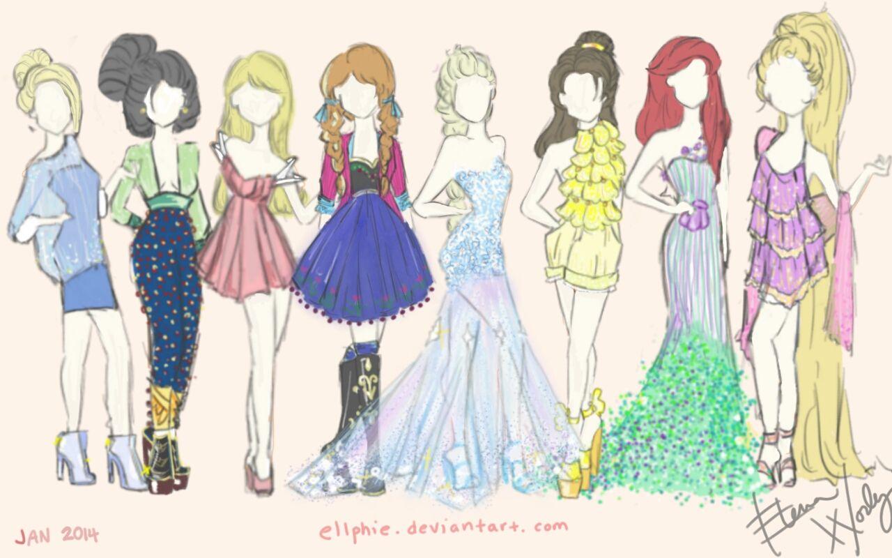 how to draw a disney princess dress