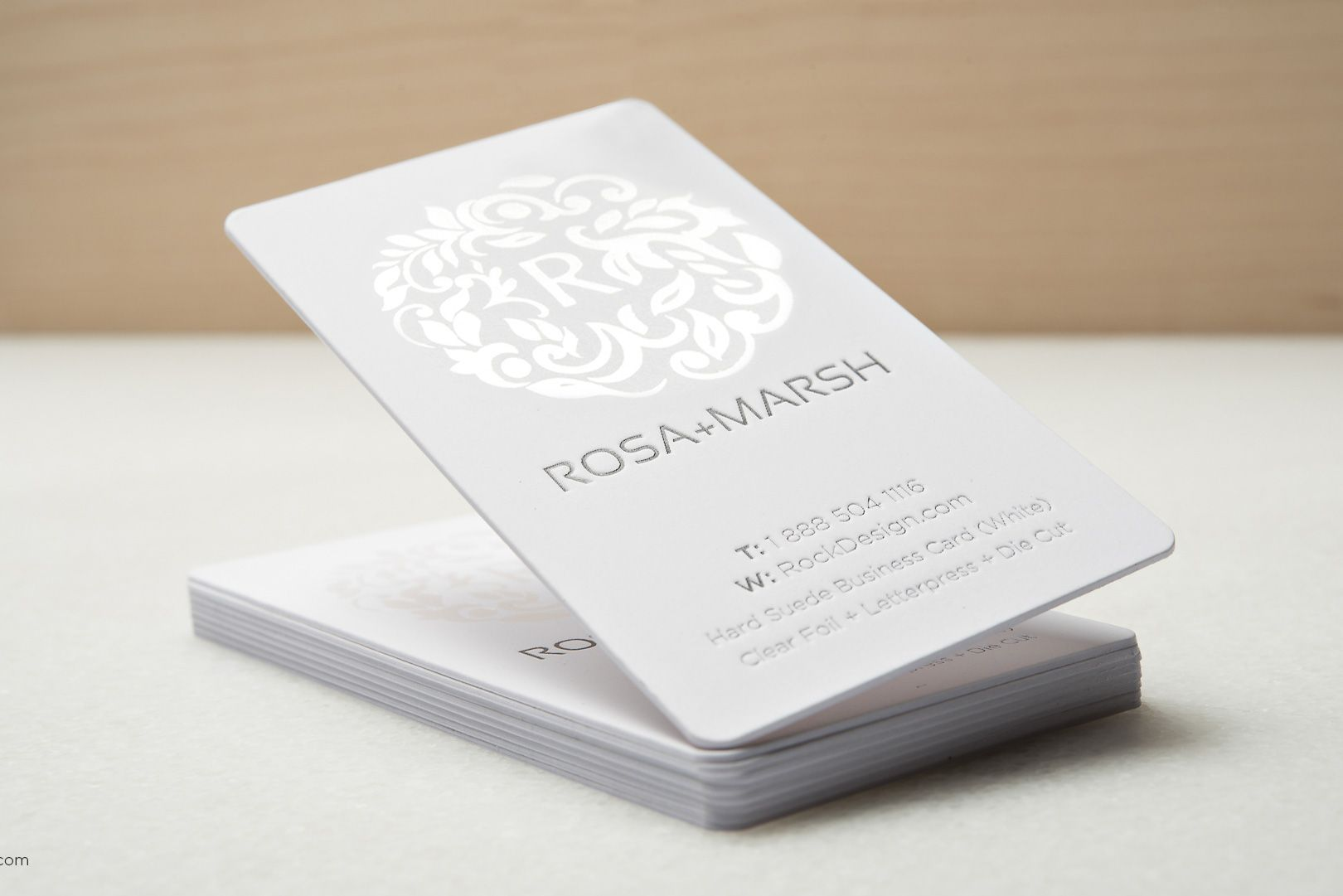 Elegant modern white suede business card with foil stamping and ...