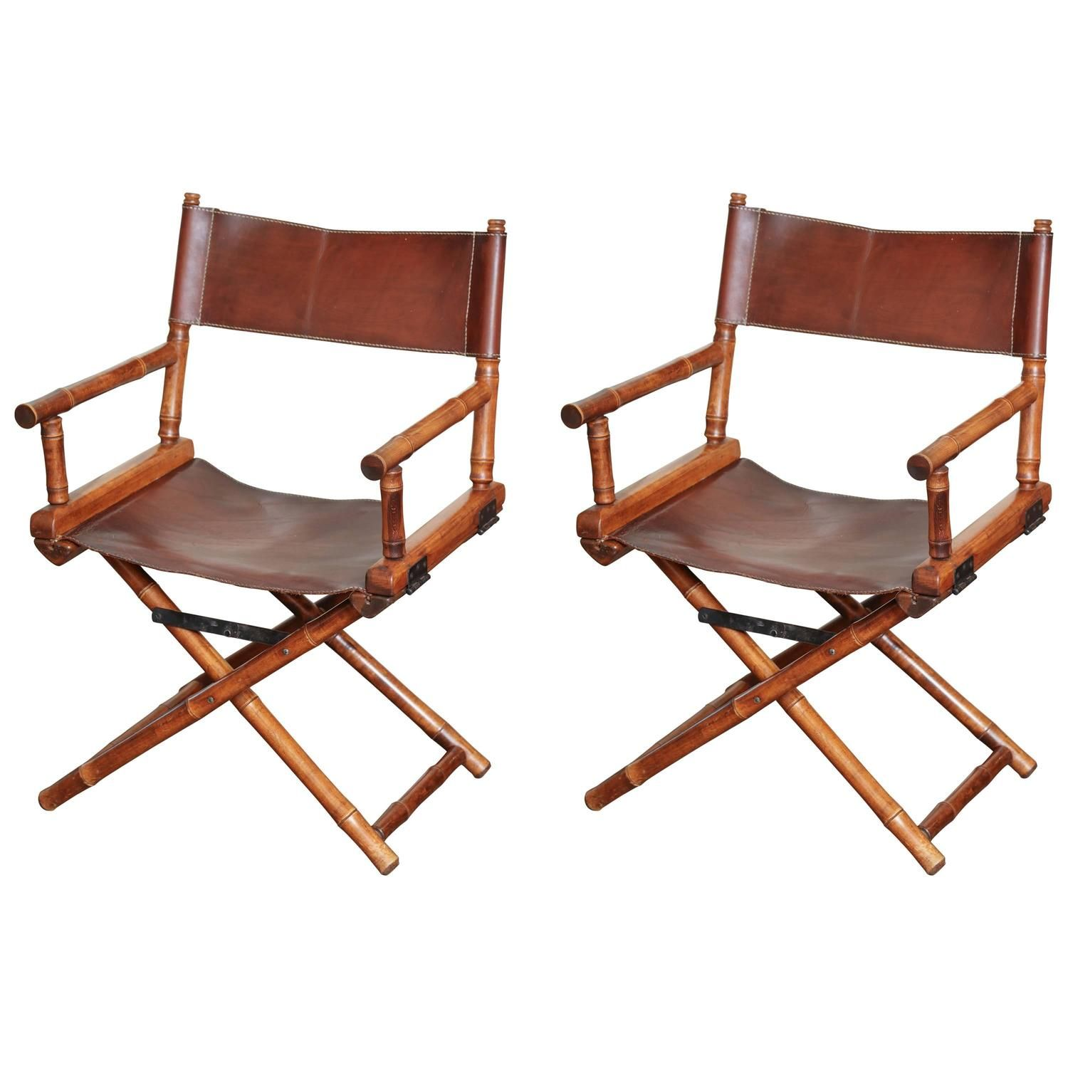 Pair Of Bamboo And Leather Directors Chairs, Circa 1960 1