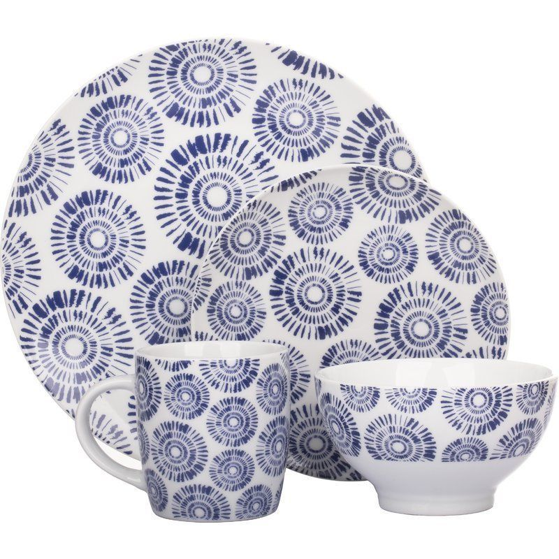 ... consists of four dinner plates four side plates four deep bowls and four mugs. Made from porcelain in a blue and white colour in a modern design.  sc 1 st  Pinterest & Blue White Dinner Service 16Pc Porcelain Dinnerware Crockery Dishes ...