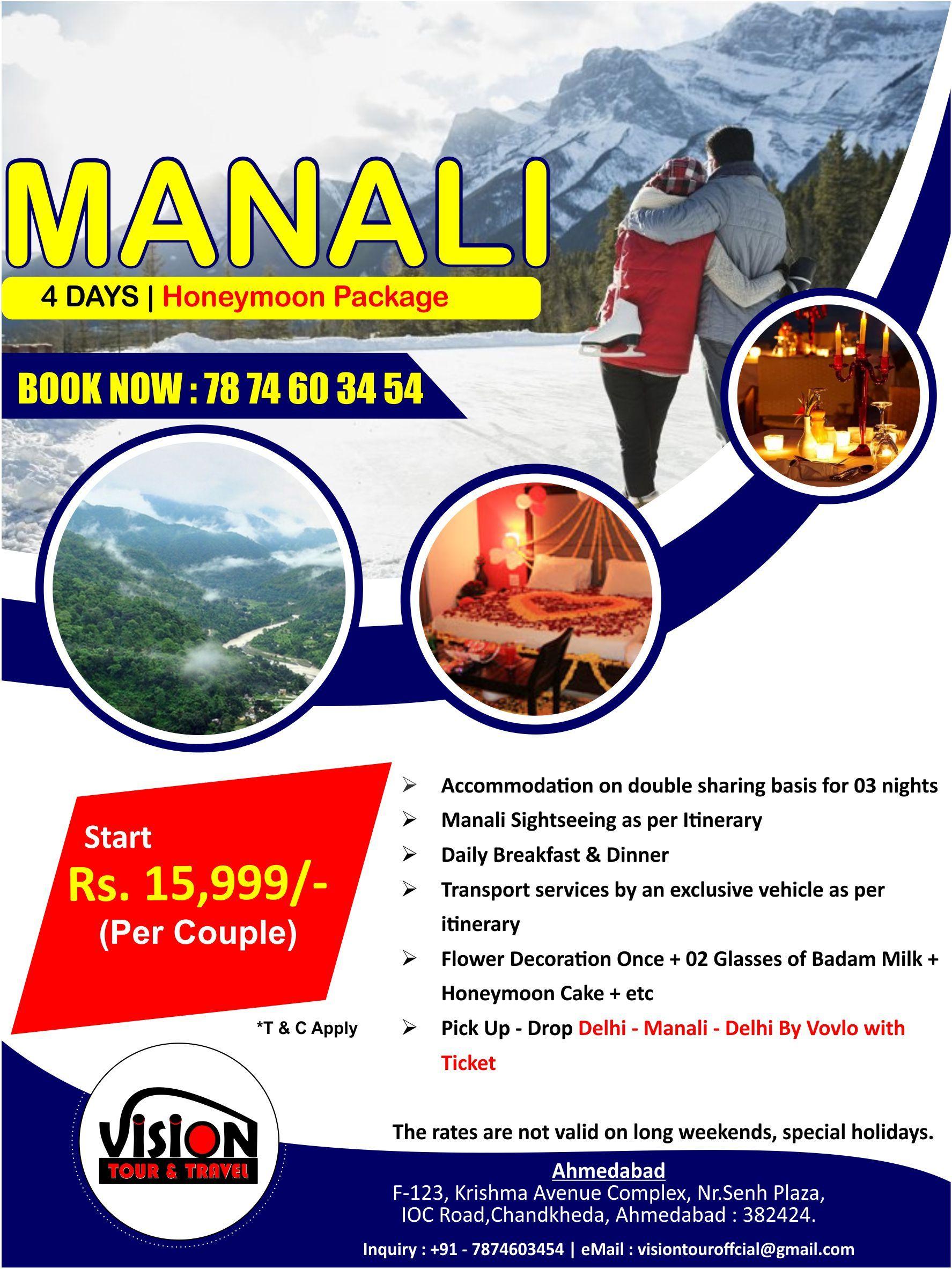 Manali Honeymoon Package Offer Valid till 30th, Aug