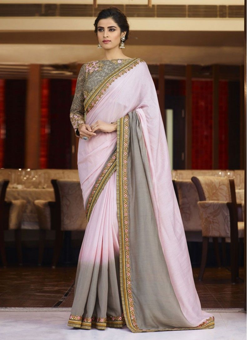 Silk grey and pink colored designer partywear saree sarees