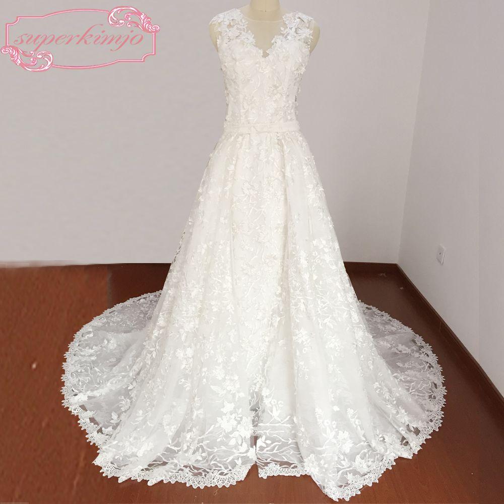 Mermaid wedding dress with detachable train  Click to Buy ucuc Wedding Dresses with Detachable Train Sheer Crew V