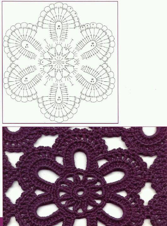 Pin de Gladys Villa en Crochet | Pinterest | Ganchillo, Flores y ...