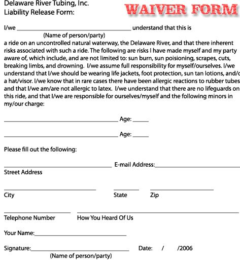 Printable Sample Liability Waiver Sample Form  Laywers Template