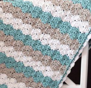 Marshmallow Crochet Baby Blanket Pattern Free : Sea Shell Stitch Crochet Baby Blanket Crochet baby ...