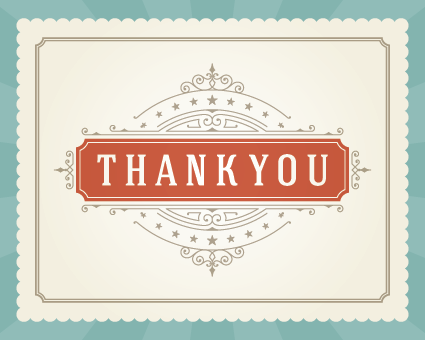 Thank you note vector